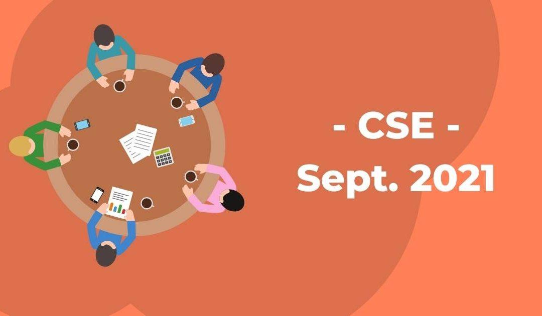 Compte rendu du CSE de Septembre 2021